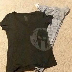 T-shirt and sweats